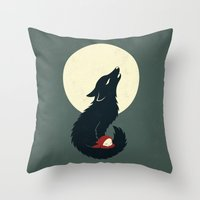 red hood Throw Pillows featuring Little Red Riding Hood by Freeminds