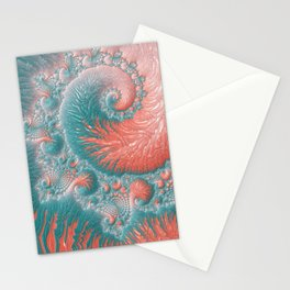 Abstract Coral Reef Living Coral Pastel Teal Blue Texture Spiral Swirl Pattern Fractal Fine Art Stationery Cards