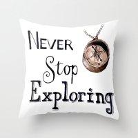 never stop exploring Throw Pillows featuring Never stop exploring by Bridget Davidson