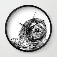 sloth Wall Clocks featuring sloth by ARI(Sunha Jung)