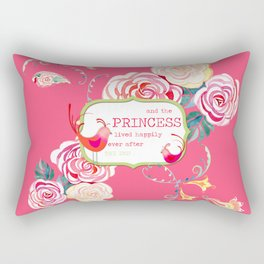 Princess Happily Ever After Modern Birds Floral  Rectangular Pillow