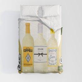 White Wine Bottles Illustration Comforters