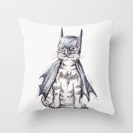 Bat Cat Throw Pillow
