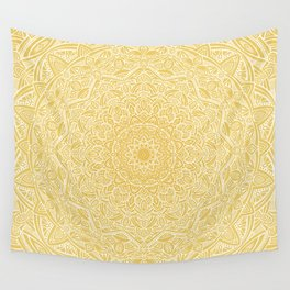 Most Detailed Mandala! Yellow Golden Color Intricate Detail Ethnic Mandalas Zentangle Maze Pattern Wall Tapestry
