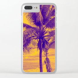Golden Black Sand Beaches and Palm trees Clear iPhone Case