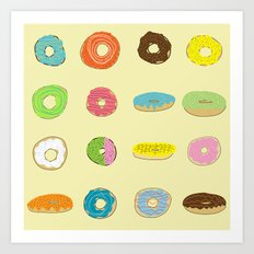 Sixteen Donuts  -Yellow Art Print