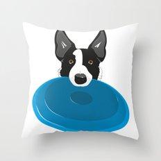 Border Collie - Disc Dog 2 Throw Pillow