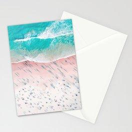 Beach Wall Art, Aerial View of Beach, Teal Ocean Print Stationery Cards