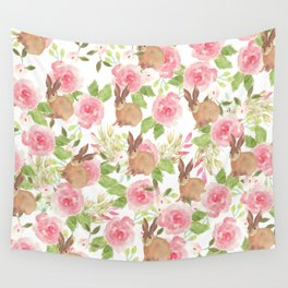 Pink brown watercolor roses floral bunny rabbit Wall Tapestry