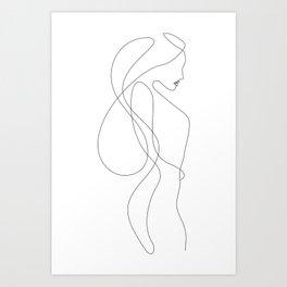 Lady with Long Hair Art Print