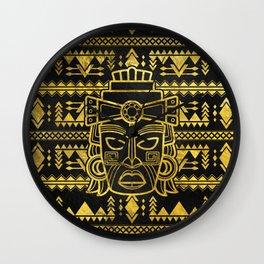 Gold  Aztec Inca Mayan Mask Wall Clock