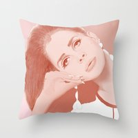 ultraviolence Throw Pillows featuring LANA by Itxaso Beistegui Illustrations