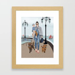 Seaside walk Framed Art Print