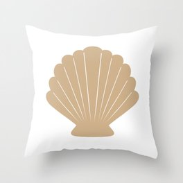 Seashell (Tan & White) Throw Pillow