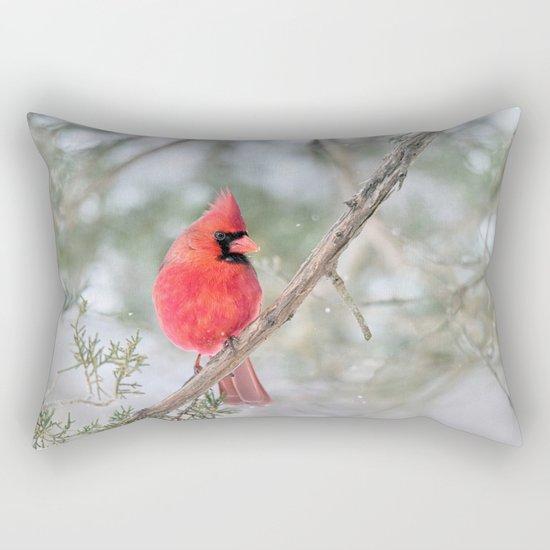 Winter's End Cardinal Rectangular Pillow