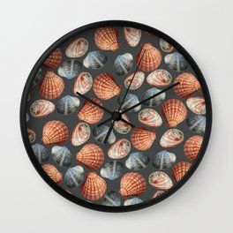 Sea Shells pattern dark blue background Wall Clock