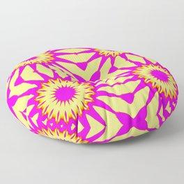 Pink & Banana Yellow Pinwheel Flowers Floor Pillow