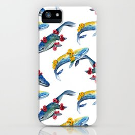 Blue Humpback whale and flowers. seamless pattern  iPhone Case