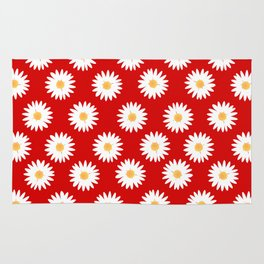 Daisy red pattern Rug