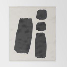 Mid Century Modern Minimalist Abstract Art Brush Strokes Black & White Ink Art Square Shapes Throw Blanket