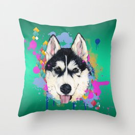 Husky Malamute Throw Pillow