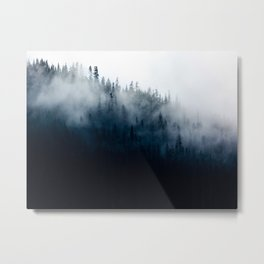 Misty Mountain Forest Foggy Moody Landscape Metal Print