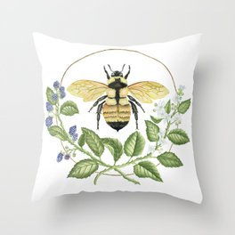 Bombus & Blackberries Throw Pillow
