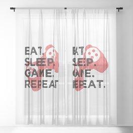 Eat. Sleep. Game. Repeat. T Shirt Gamer TShirt Video Game Shirt Eat Sleep Repeat Gift Idea Sheer Curtain