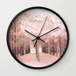 Pink Nature Woodlands Trees Baby Girl Nursery Decor Wall Clock