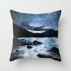 Magical Mountain Lake Steel Blue Gray Throw Pillow