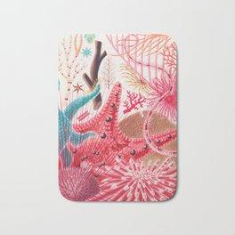Colorful Starfish Urchin Vintage Sealife Illustration Bath Mat