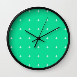 PLUS ((white on emerald green)) Wall Clock