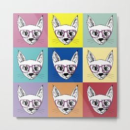 geek cool cat Metal Print