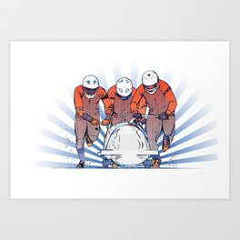 Cool Runnings - Bobsleigh 4 men team Art Print