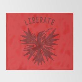 phoenix liberate crest x typography Throw Blanket