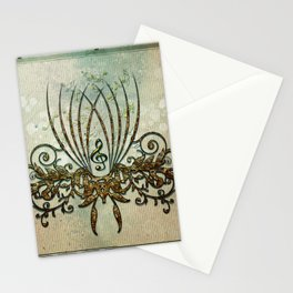Clef with decorative floral elements Stationery Cards