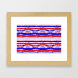 Red White Blue Waving Lines Framed Art Print