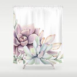 Desert Succulents on White Shower Curtain