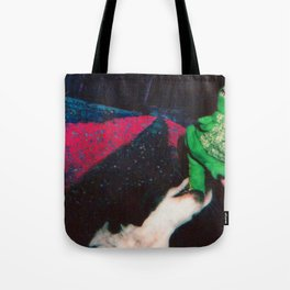 A Dog Ripping a Stuffed Dinosaurs Tail Off (In Space) Tote Bag