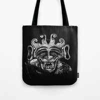 mythology Tote Bags featuring Shadow Beast Mythology by Anya Campbell by BohemianBound