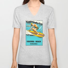 Virginia Beach Retro Vintage Surfer Unisex V-Neck