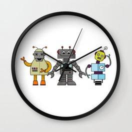 The Three Robots,  A Trio Of Retro Robots Wall Clock
