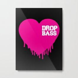 Drop Bass Heart Metal Print