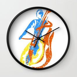 Abstract Bass Player Paint Style Wall Clock