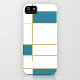 MidCentury Modern Art Aqua Gold Black iPhone Case