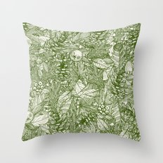 forest floor green ivory Throw Pillow