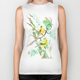 American Goldfinch and Apple Blossom Biker Tank