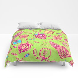 Tropicana on lime green Comforters