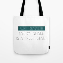 Just Breathe - Teal Typography Tote Bag