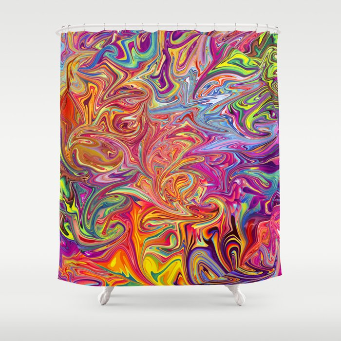 Psychedelic Shower Curtain By Folknfunky